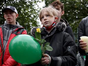 PACEMAKER PRESS BELFAST 28/6/2020 A vigil at Saint MalachyÕs College for Noah Donohue, who tragically lost his life after going missing last Sunday. NoahÕs family, friends and search and rescue volunteers were present.  Pictured Leo Mallon. Photo Pacemaker Press