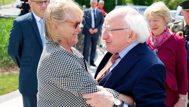 President of Ireland Michael D Higgins with Marie Heaney