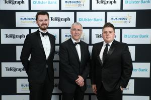 Press Eye - Belfast - Northern Ireland - 2nd May 2019 -   Niall Caldwell, Richard Donnan and John Mulgrew pictured at the Belfast Telegraph Business Awards in association with Ulster Bank at the Crowne Plaza Hotel, Belfast. Photo by Kelvin Boyes / Press Eye.