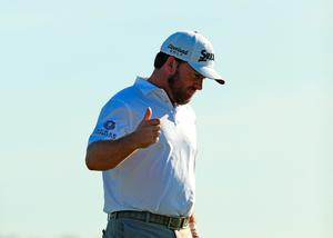 PUNTA CANA, DOMINICAN REPUBLIC - MARCH 31: Graeme McDowell of Northern Ireland reacts to his putt on the 18th green to win the tournament during the final round of the Corales Puntacana Resort & Club Championship on March 31, 2019 in Punta Cana, Dominican Republic. (Photo by Mike Ehrmann/Getty Images)