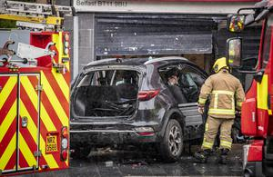 Emergency services at the scene of an RTC on the Andersonstown Road in west Belfast on August 18th 2020 (Photo by Kevin Scott for INM)