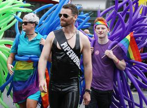 Thousands of people take part in the annual Belfast Pride event in Belfast city centre celebrating Northern Ireland's LGBT community
