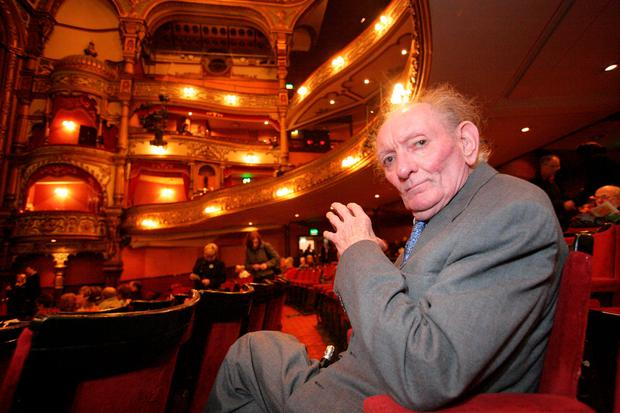 Brian Friel in the auditorium at Belfast's Grand Opera House before the the final performance of his play, The Homeplace. (Brian Morrison/PA Wire)