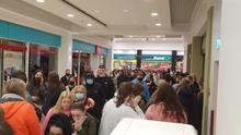 Picture taken 11:45pm on Friday evening. Queues in the Abbey Centre as Primark opened for 36 hours from 9am on Friday December 11 to Saturday evening. Picture: Colm O'Reilly Sunday Life