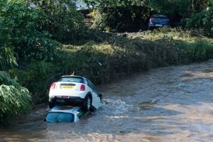 Cars swept into the River Faughan