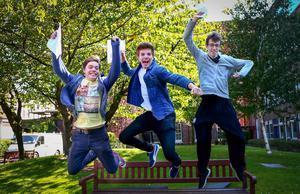 Picture - Kevin Scott / Belfast Telegraph  Belfast - Northern Ireland - Thursday 13th August 2015 - A Level Results Day   Pictured is Daniel Murphy 3A* and 1 B , Jacob Davidson 1 A* 2A and 1 B and Chris Hogg 2A* 2A during A level results day at RBAI / Inst   Picture - Kevin Scott / Belfast Telegraph