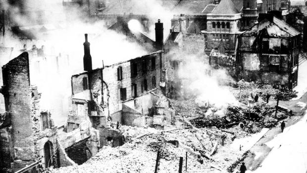 WORLD WAR II: BELFAST AIR RAIDS. ST. ANNE'S CATHEDRAL. April/May 1941. Miraculously St. Anne's Cathedral survived, while most of Donegall Street was reduced to rubble AR 65.