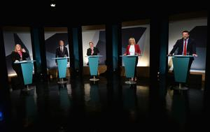 UTV Presenter Marc Mallett with Naomi Long (Alliance), Nigel Dodds (Deputy Leader of DUP) , Robin Swann (UUP) Michelle O'Neill (Sinn Fein) and Colun Eastwood (SDLP) during  A television debate from the five main parties which was recorded at UTV in Belfast. Pic Pacemaker