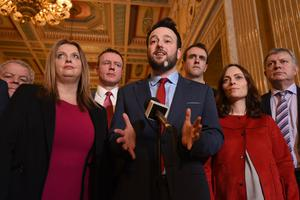 SDLP Leader Colum Eastwood with Party MLA's  speak to the media   at Stormont on Monday, following the recent election results at the weekend. Photo Colm Lenaghan/Pacemaker Press  06/03/2017