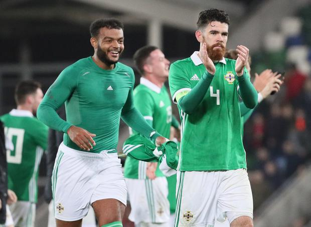 Pacemaker Belfast 16-10-18 Northern Ireland v Slovakia - UEFA Euro U21 Qualifier Northern Ireland's players celebrate after this evenings victory over Slovakia at the National Stadium, Belfast.  Photo by David Maginnis/Pacemaker Press