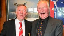 All smiles: Sir Alex Ferguson and Harry Gregg enjoy each other's company