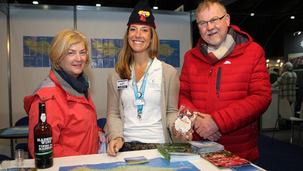 Mandatory Credit - Picture by Freddie Parkinson © Friday 18 January 2019 Belfast Telegraph Holiday World Show, Titanic Exhibition Centre, Belfast. Barbara and Graham Spence from Hillsborough with Emma Olsson Macedo (Centre) of Galo Resort, Madeira