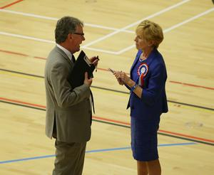 Lady Sylvia Hermon (Independent)  running in the North Down talking to Mike Nesbitt (UUP)  during the  2017 Westminster Election  count at Aurora Leisure Complex, Bangor.  Picture by Brian Little/PressEye