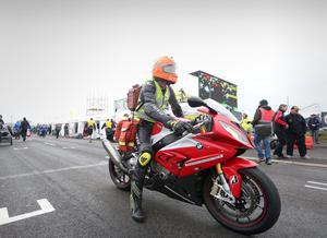 Photographer ?Matt Mackey - Presseye.com  12th May 2015  On track doctor, Dr John Hinds photographed as he prepares his kit to allow him to deliver crucial medical aid if and when required on the North West 200 circuit.
