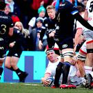 Marcell Coetzee scores the opening try for Ulster