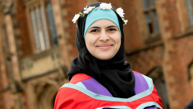 Pictured graduating with a Phd from the School of Pharmacy at Queen's University Belfast is Rawan Alsharedeh from Jordan. Rawan was one of the thousands of students to graduate from Queen's University this summer. Queen's University Belfast is 2nd in UK for Pharmacology and Pharmacy.