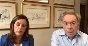 Screengrab from Parliament TV of Lord Lloyd-Webber and Rebecca Kane Burton, Chief Executive of LW Theatres, appearing by video link at the Digital, Culture, Media and Sport Committee (Parliament TV/PA)