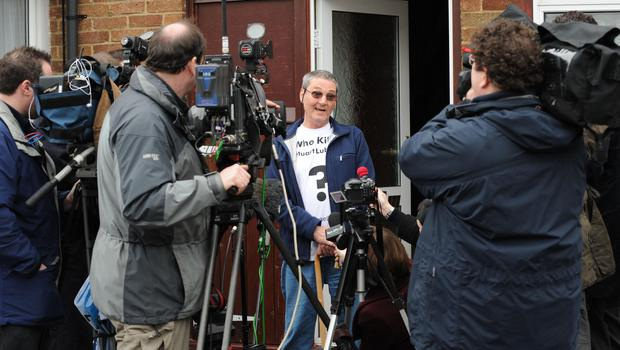 Terry Lubbock speaking to journalists about the death of his son Stuart. PA/Ian Nicholson