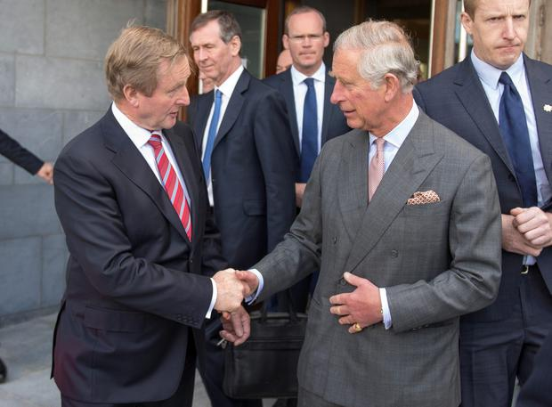 Taoiseach Enda Kenny (left) with the Prince of Wales (right) at the Marine Institute in Galway, on day one of a four day visit to Ireland with the Duchess of Cornwall Photo credit: Arthur Edwards/The Sun/PA Wire