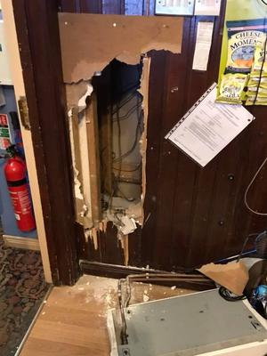 Significant damage was caused to the bar during the break in.