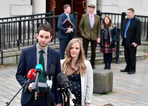 Daniel McArthur (L), managing director of Ashers Bakery and his wife Amy McArthur (R) hold a press conference as they outside Belfast high court alongside family members for the so called 'Gay Cake' case verdict on October 24, 2016 in Belfast, Northern Ireland. (Photo by Charles McQuillan/Getty Images)