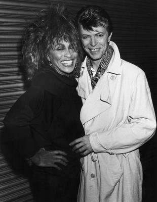 Turner And Bowie...American pop and soul singer Tina Turner with English singer-songwriter David Bowie, 1985. (Photo by Dave Hogan/Hulton Archive/Getty Images)...Ent