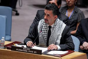 Sacha Sergio Llorenti Soliz, Representative of Bolivia to the United Nations, speaks during a Security Council meeting at the UN on July 22, 2014 in New York City.  (Photo by Kena Betancur/Getty Images)