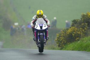 PACEMAKER, BELFAST, 29/4/2000:   Colin Edwards doesn't do this with his SP1!   Joey Dunlop gets the Vimto Honda SP1 he will ride at the North West and TT in the air over the Cookstown bumps at the first Ulster road race of the season. PICTURE BY STEPHEN DAVISON