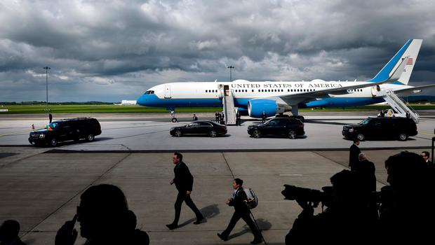 SHANNON, IRELAND - JUNE 05: The Presidential cavalcade carrying US President Donald Trump departs Airforce One at Shannon airport on June 5, 2019 in Shannon, Ireland. President Trump will use his Trump International golf resort in nearby Doonbeg as a base for his three day stay in Ireland. The resort employs over 300 local people in the area and the village will roll out a warm welcome for the 45th President of the United States. (Photo by Charles McQuillan/Getty Images)