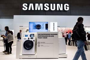 A washing machine is featured at the home appliances section at the booth of South Korean electronics giant Samsung ahead of the opening of the 55th IFA (Internationale Funkausstellung) electronics trade fair in Berlin on September 3, 2015. IFA, Europe's largest consumer electronics and home appliances fair opens from September 4 to September 9, 2015. AFP PHOTO / JOHN MACDOUGALLJOHN MACDOUGALL/AFP/Getty Images