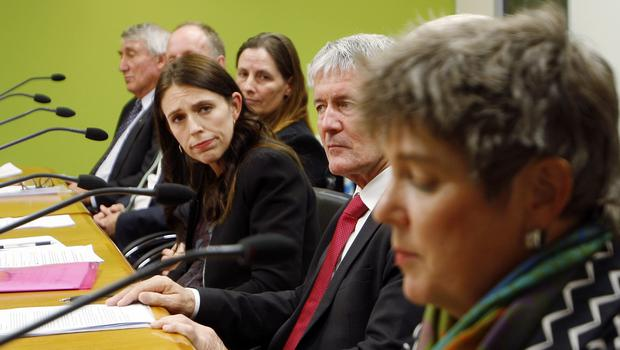 Prime Minister Jacinda Ardern, centre, said she believes it is still possible to eradicate Mycoplasma bovis (Nick Perry/AP)