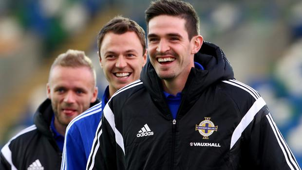 Press Eye - Belfast -  Northern Ireland - 08th October 2015 - Photo by William Cherry  Northern Ireland's Kyle Lafferty and Johnny Evans before Thursday nights UEFA Euro 2016 Qualifier at Windsor Park, Belfast.