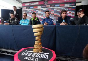 07th May 2014  Photo by William Cherry/Presseye  Nicholas Roche, Michele Scarponi, Nairo Quintana, Joaquin Rodriguez, Rigoberto Uran and Cadel Evans pictured at Wednesday afternoon's Giro d'Italia Press Conference at the Waterfront Hall, Belfast.