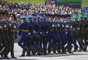 Belarusian soldiers perform during the Victory Day military parade (Sergei Grits/AP)