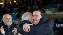 Delight: David Healy bags his first trophy as Linfield boss