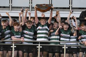 10/3/20: Campbell College celebrate after winning the Medallion Shield Final against RBAI at the Kingspan. Picture: Robbie Cooper