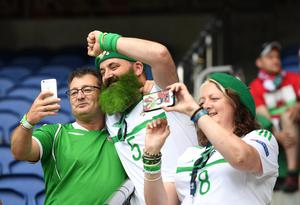 Pacemaker Press 25/6/2016 Northern Ireland v Wales EURO 2016 Final 16 Northern Ireland Fans during this evening's game at Parc De Princes in Paris. Pic Colm Lenaghan/Pacemaker