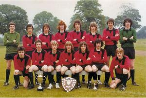Hillsborough Boys in the undefeated in Dundonald League 77/88 season Mickey McFarland, now senior team manager, is the goalkeeper far right