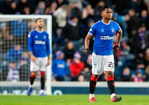 Rangers Alfredo Morelos appears dejected after Hamiltons David Moyo (not pictured) scores his side's first goal of the game during the Ladbrokes Scottish Premiership match at Ibrox Stadium. Credit: Jeff Holmes/PA Wire