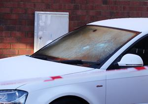 Damage was caused to a car at the house. Pic Jonathan Porter