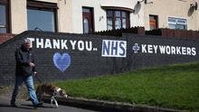 General view of a wall mural in the Queens Square area of Newtownards, Co Down in support of NHS and key workers. Photo by Kelvin Boyes / Press Eye.