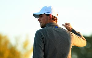 CHASKA, MN - OCTOBER 01: Thomas Pieters of Europe reacts on the first green during morning foursome matches of the 2016 Ryder Cup at Hazeltine National Golf Club on October 1, 2016 in Chaska, Minnesota.  (Photo by Ross Kinnaird/Getty Images)