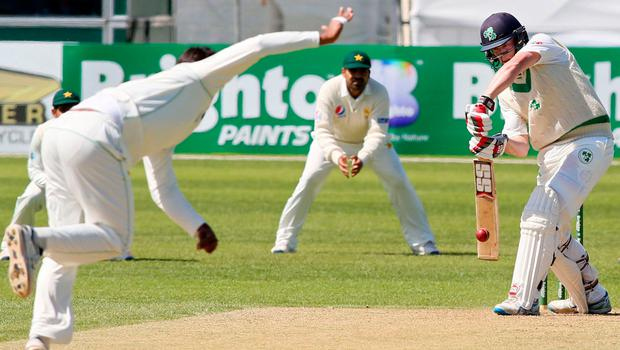 Kevin O'Brien plays a defensive shot in Ireland's Test against Pakistan