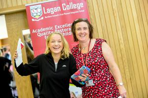 PACEMAKER BELFAST   13/08/15  Students from Lagan College Belfast receive their results today.  With an impressive number of A* & As.  Pictured Kirstie Morrow with Principal Mrs. Amanda McNamee Photo: Pacemaker Press
