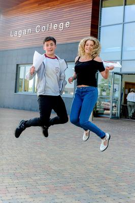 PACEMAKER BELFAST   13/08/15  Students from Lagan College Belfast receive their results today.  With an impressive number of A* & As.  Stephen Hamley (A*, A,A,A) & Jacinta Hamley (A8, A, A) Photo: Pacemaker Press