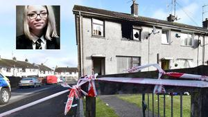 Tributes left for Brooke at the scene of the Ballykeel house fire.