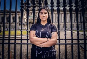 Jolene Francis as a protest over the death of George Floyd is held at City Hall in Belfast, Northern Ireland on June 3rd 2020 (Photo by Kevin Scott for Belfast Telegraph)