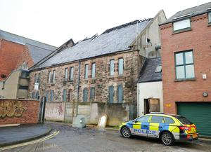 The scene on Donegall Pass in where fifty firefighters dealt with an over night fire.  The incident at the Multi-Cultural Association building in south Belfast is being treated by the police as a hate crime.  Picture by Jonathan Porter/PressEye