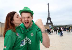Northern Ireland fans Alison and Chris McHenry in Paris where Northern Ireland will play their final Euro 2016 group game against Germany at the Parc des Princes.