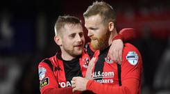 David Cushley thanks Ross Clarke for setting up his opening goal at Seaview.
